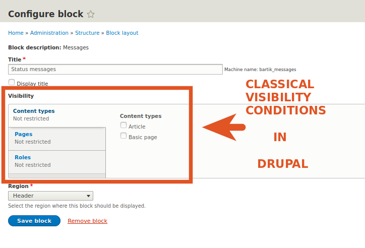 Basic visibility conditions for Blocks in Drupal