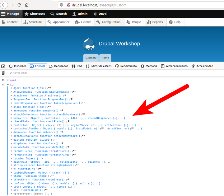 Watching the content of the global object Drupal